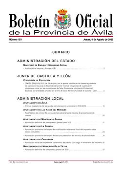Boletín Oficial de la Provincia del jueves, 9 de agosto de 2012