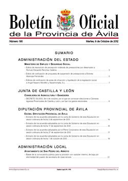 Boletín Oficial de la Provincia del martes, 9 de octubre de 2012