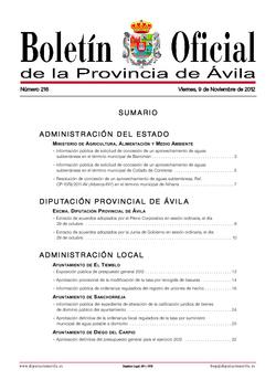 Boletín Oficial de la Provincia del viernes, 9 de noviembre de 2012