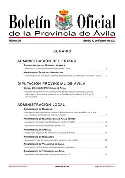 Boletín Oficial de la Provincia del viernes, 10 de febrero de 2012