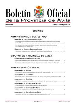 Boletín Oficial de la Provincia del jueves, 10 de mayo de 2012