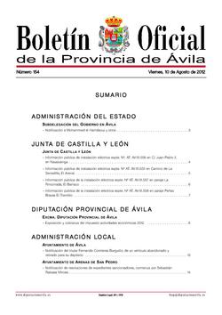Boletín Oficial de la Provincia del viernes, 10 de agosto de 2012