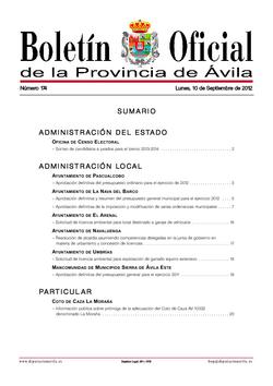 Boletín Oficial de la Provincia del lunes, 10 de septiembre de 2012