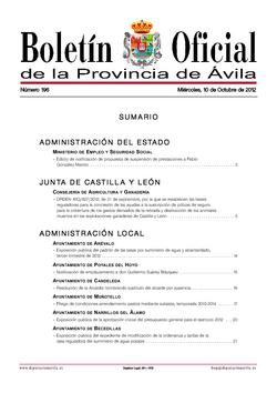 Boletín Oficial de la Provincia del miércoles, 10 de octubre de 2012