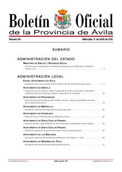 Boletín Oficial de la Provincia del miércoles, 11 de abril de 2012