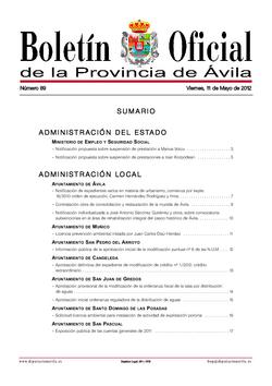 Boletín Oficial de la Provincia del viernes, 11 de mayo de 2012