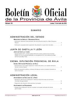 Boletín Oficial de la Provincia del lunes, 11 de junio de 2012