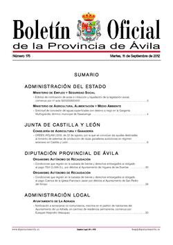 Boletín Oficial de la Provincia del martes, 11 de septiembre de 2012