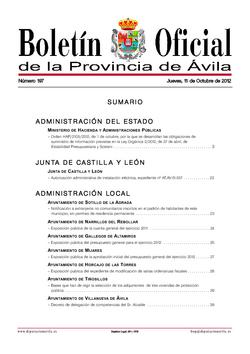 Boletín Oficial de la Provincia del jueves, 11 de octubre de 2012