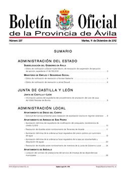 Boletín Oficial de la Provincia del martes, 11 de diciembre de 2012