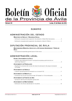 Boletín Oficial de la Provincia del lunes, 12 de marzo de 2012