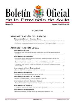 Boletín Oficial de la Provincia del jueves, 12 de abril de 2012