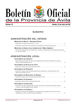 Boletín Oficial de la Provincia del martes, 12 de junio de 2012