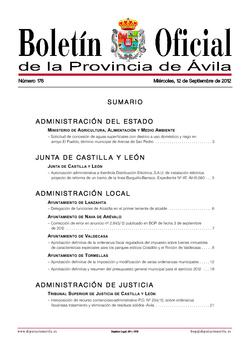 Boletín Oficial de la Provincia del miércoles, 12 de septiembre de 2012