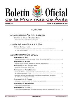 Boletín Oficial de la Provincia del lunes, 12 de noviembre de 2012