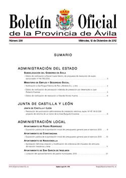 Boletín Oficial de la Provincia del miércoles, 12 de diciembre de 2012