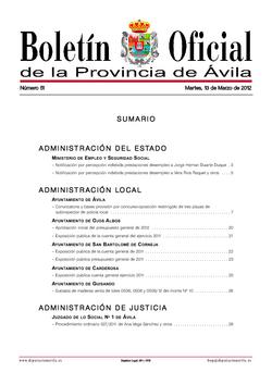 Boletín Oficial de la Provincia del martes, 13 de marzo de 2012