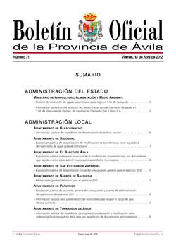 Boletín Oficial de la Provincia del viernes, 13 de abril de 2012