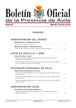 Boletín Oficial de la Provincia del miércoles, 13 de junio de 2012