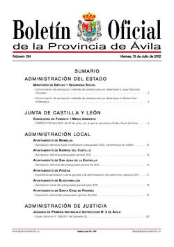 Boletín Oficial de la Provincia del viernes, 13 de julio de 2012