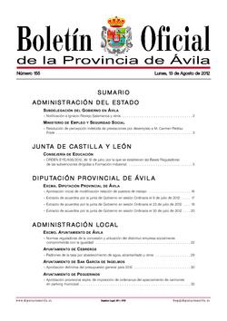 Boletín Oficial de la Provincia del lunes, 13 de agosto de 2012