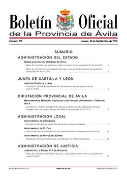Boletín Oficial de la Provincia del jueves, 13 de septiembre de 2012