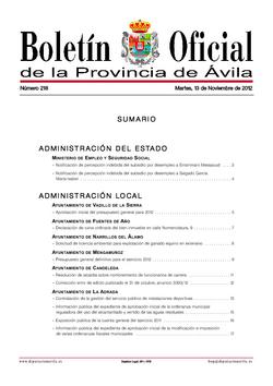 Boletín Oficial de la Provincia del martes, 13 de noviembre de 2012