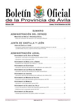 Boletín Oficial de la Provincia del jueves, 13 de diciembre de 2012