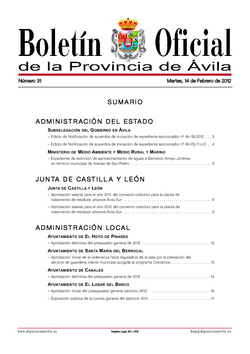 Boletín Oficial de la Provincia del martes, 14 de febrero de 2012
