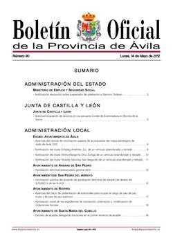 Boletín Oficial de la Provincia del martes, 15 de mayo de 2012