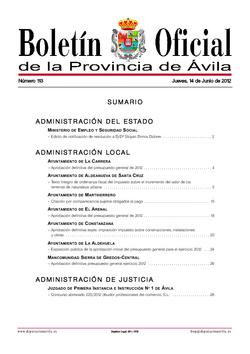 Boletín Oficial de la Provincia del jueves, 14 de junio de 2012