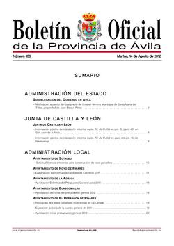 Boletín Oficial de la Provincia del martes, 14 de agosto de 2012
