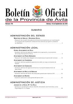 Boletín Oficial de la Provincia del viernes, 14 de septiembre de 2012