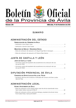 Boletín Oficial de la Provincia del miércoles, 14 de noviembre de 2012