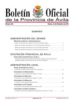 Boletín Oficial de la Provincia del viernes, 14 de diciembre de 2012