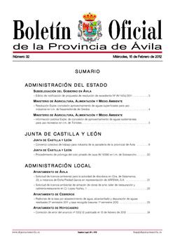 Boletín Oficial de la Provincia del miércoles, 15 de febrero de 2012