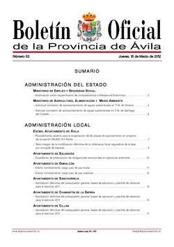 Boletín Oficial de la Provincia del jueves, 15 de marzo de 2012