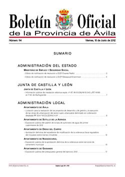 Boletín Oficial de la Provincia del viernes, 15 de junio de 2012
