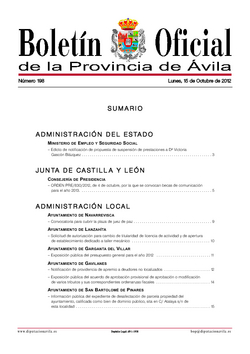 Boletín Oficial de la Provincia del lunes, 15 de octubre de 2012