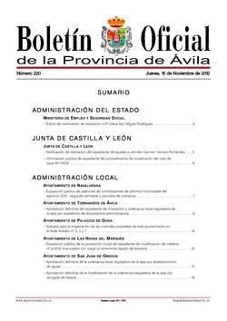 Boletín Oficial de la Provincia del jueves, 15 de noviembre de 2012