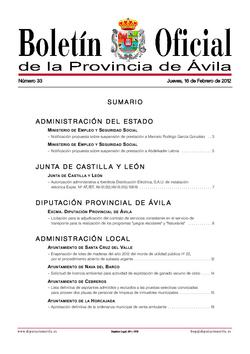 Boletín Oficial de la Provincia del jueves, 16 de febrero de 2012