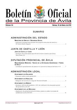 Boletín Oficial de la Provincia del viernes, 16 de marzo de 2012
