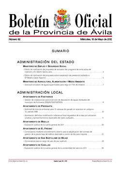 Boletín Oficial de la Provincia del miércoles, 16 de mayo de 2012