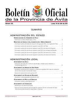 Boletín Oficial de la Provincia del lunes, 16 de julio de 2012