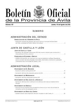 Boletín Oficial de la Provincia del jueves, 16 de agosto de 2012