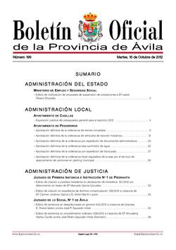 Boletín Oficial de la Provincia del martes, 16 de octubre de 2012