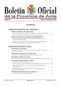 Boletín Oficial de la Provincia del viernes, 17 de febrero de 2012