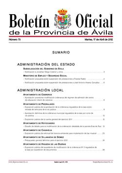 Boletín Oficial de la Provincia del martes, 17 de abril de 2012