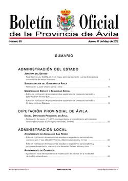 Boletín Oficial de la Provincia del jueves, 17 de mayo de 2012