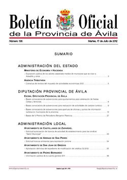 Boletín Oficial de la Provincia del martes, 17 de julio de 2012